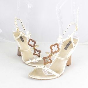 LOUIS VUITTON #20467 White And Brown Wedges